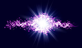 Energy lightning with explosion and many shine particles Stock Images