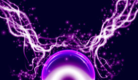 Energy lightning with explosion and many shine particles Royalty Free Stock Photo