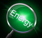 Energy Magnifier Indicates Power Source And Electricity Royalty Free Stock Images