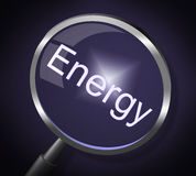 Energy Magnifier Means Power Source And Search Royalty Free Stock Photo
