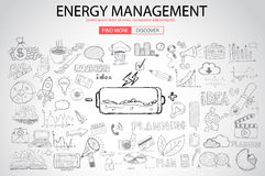 Energy management with Doodle design style Royalty Free Stock Photos