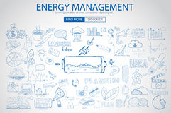 Energy management with Doodle design style :power savings. Optimization process, creative thinking. Modern style illustration for web banners, brochure and Royalty Free Stock Image