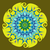 Energy Mandala in Green Colors Stock Image
