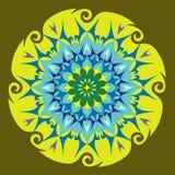 Energy Mandala in Green Colors. Spinning Shape - Flower Pattern Stock Image