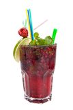 Energy mohito with mint, lime and raspberry Stock Photo