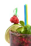 Energy mohito with mint, lime and raspberry isolat Stock Image