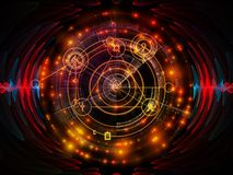 Energy of Mystic Circle. Astral Glow series. Composition of sacred geometry lines, astrology symbols and lights suitable as a backdrop for the projects on royalty free stock photography