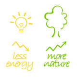 Energy and nature. Drawing of the concept: less energy means more nature. Using less energy can help to preserve environment royalty free illustration