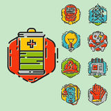 Energy outline colorful style and resource icon set vector illustration electricity industrial current. Stock Images