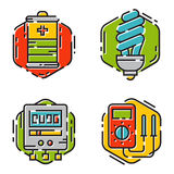 Energy outline colorful style and resource icon set vector illustration electricity industrial current. Stock Image