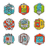 Energy outline colorful style and resource icon set vector illustration electricity industrial current. Royalty Free Stock Photo