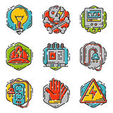 Energy outline colorful style and resource icon set vector illustration electricity industrial current. Royalty Free Stock Photography