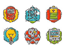 Energy outline colorful style and resource icon set vector illustration electricity industrial current. Stock Photo