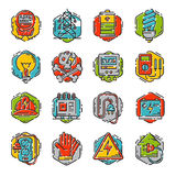 Energy outline colorful style and resource icon set vector illustration electricity industrial current. Royalty Free Stock Image
