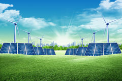 Energy park. Solar panel and eolic system on green park Stock Photography
