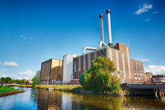 Energy Plant. Electricity Generator along of a canal at The Hague, Netherlands Royalty Free Stock Image