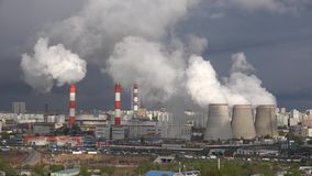 Energy plant in the city stock video footage