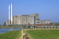 Energy plant Harculo or IJsselcentrale. Netherlands, province Overijssel, dutch region Salland, city Zwolle: still life of modern energy plant Harculo or royalty free stock images