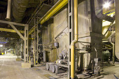 Energy plant interior. Interior of a factory with machines Stock Photos