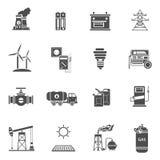Energy power black icons set Stock Images