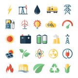 Energy power flat icons set of solar panels wind. Turbine and nuclear plant isolated vector illustration Stock Photography