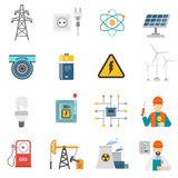 Energy power flat icons set. Wind solar and nuclear energy generating systems flat icons set with radiation sign abstract vector isolated illustration Royalty Free Stock Photos