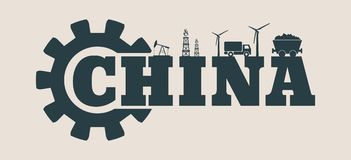 Energy and Power icons. China word Stock Photography