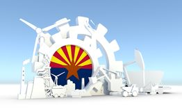 Energy and Power icons set with Arizona flag. Sustainable energy generation and heavy industry. 3D rendering Stock Photography