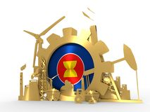 Energy and Power icons set with ASEAN flag. January 15, 2016: An illustration of the energy and power 3D icons set with ASEAN flag. 3D rendering. Golden material stock illustration