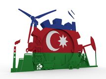 Energy and Power icons set with Azerbaijan flag Royalty Free Stock Photography
