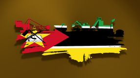 Energy and Power icons set. Brush stroke. Energy and Power icons set and grunge brush stroke. Coal mining relative image. 3D rendering. Flag of the Mozambique Royalty Free Stock Image