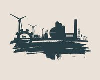 Energy and Power icons set. Brush stroke. Energy and Power icons set and grunge brush stroke. Energy generation and heavy industry relative image. Agriculture Stock Photo