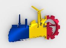 Energy and Power icons set. Brush stroke Stock Photo