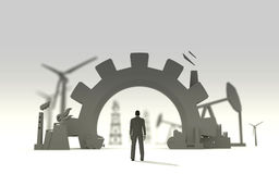 Energy and Power icons set and Businessman Stock Photography