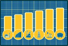 Energy and Power icons set on chart diagram Stock Images