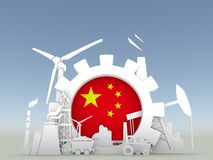 Energy and Power icons set with China flag Stock Photography