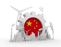 Energy and Power icons set with China flag Royalty Free Stock Photos