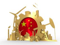 Energy and Power icons set with China flag. Sustainable energy generation and heavy industry. 3D rendering. Golden material Stock Photo