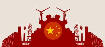 Energy and Power icons set with China flag Royalty Free Stock Photo