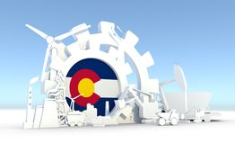 Energy and Power icons set with Colorado flag. Sustainable energy generation and heavy industry. 3D rendering royalty free stock photography