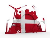 Energy and Power icons set with Denmark flag Stock Photo