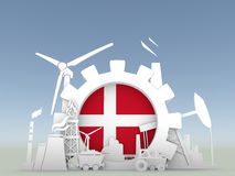 Energy and Power icons set with Denmark flag Stock Image