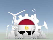 Energy and Power icons set with Egypt flag Stock Photography