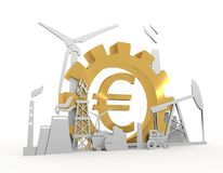 Energy and Power icons set with Euro sign. Energy and Power icons set on white backdrop. Sustainable energy generation and heavy industry. 3D rendering. Golden Royalty Free Stock Photos