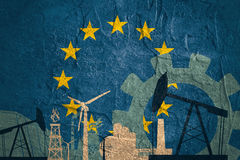 Energy and Power icons set with European Union flag Stock Images