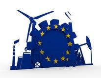 Energy and Power icons set with European Union flag Stock Photos