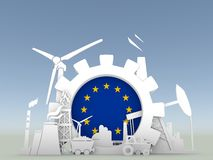 Energy and Power icons set with European Union flag Royalty Free Stock Image