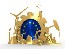 Energy and Power icons set with European Union flag. Sustainable energy generation and heavy industry. 3D rendering. Golden material Royalty Free Stock Photography