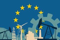 Energy and Power icons set with European Union flag Stock Photo