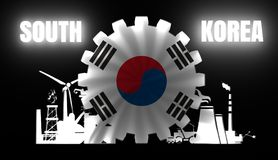Energy and Power icons set with flag. Of the South Korea. Sustainable energy generation and heavy industry. 3D rendering. Neon bulb illumination Royalty Free Stock Photos